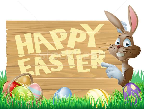 Stockfoto: Geïsoleerd · vrolijk · pasen · bunny · illustratie · cute · wijzend
