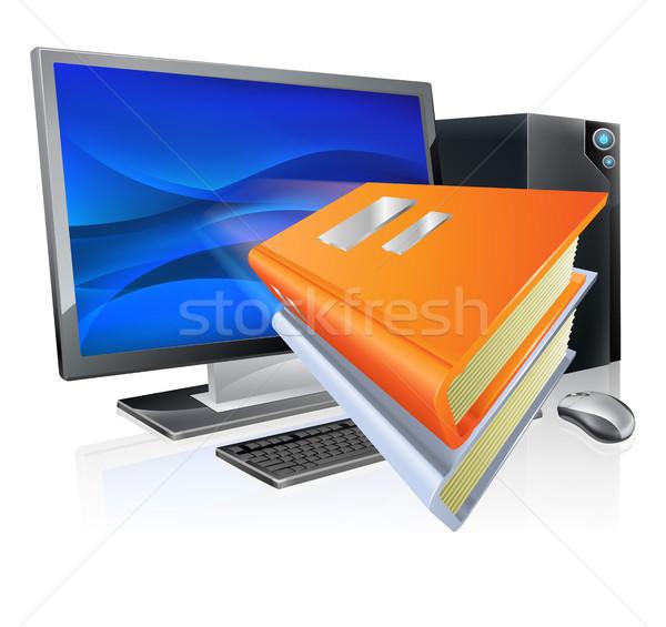 Oktatás online oktatás számítógép könyv ikonok repülés Stock fotó © Krisdog