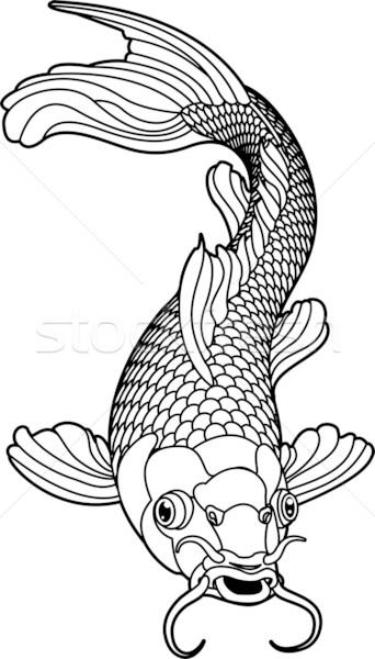 Koi karper zwart wit vis mooie illustratie Stockfoto © Krisdog