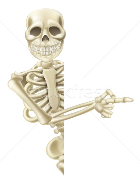 Pointing Cartoon Halloween Skeleton Stock photo © Krisdog