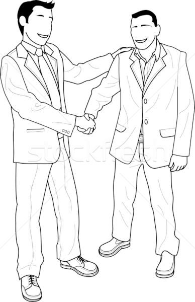 Ilustração empresários aperto de mãos saudação feliz empresário Foto stock © Krisdog