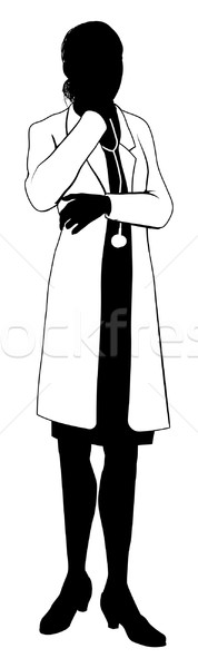 Female doctor silhouette Stock photo © Krisdog
