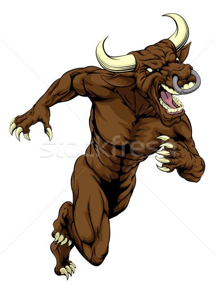 Bull mascot charging Stock photo © Krisdog