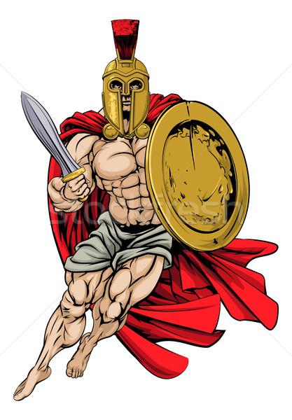 Troiano espartano ilustração muscular forte fundo Foto stock © Krisdog