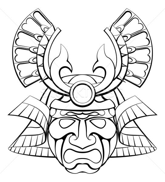Samurai máscara capacete projeto ilustração cara Foto stock © Krisdog