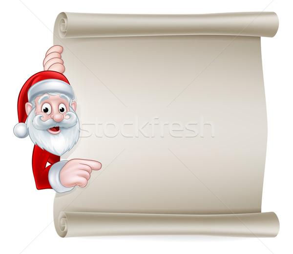 Cartoon Santa Christmas Scroll Sign Stock photo © Krisdog