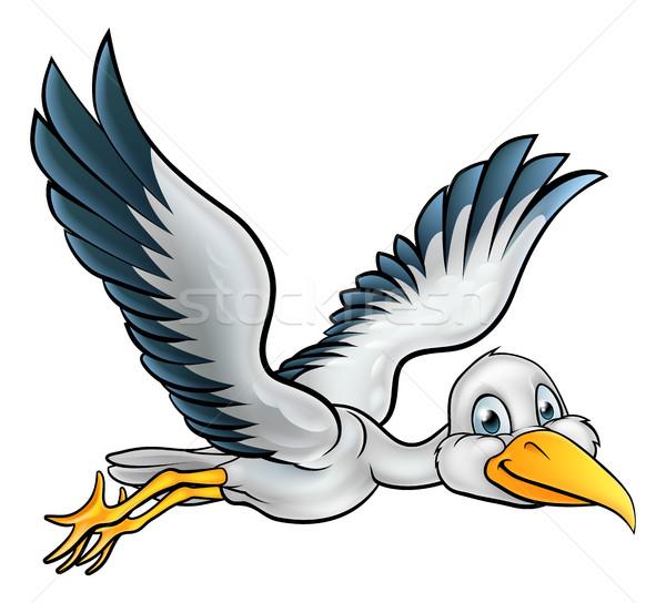 Desenho animado cegonha pássaro feliz animal Foto stock © Krisdog