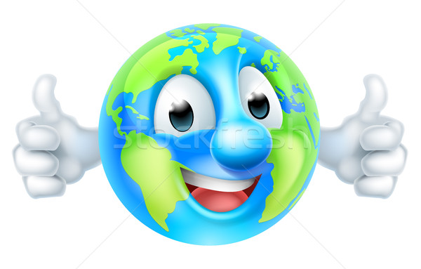 Cartoon World Earth Day Thumbs Up Globe Character Stock photo © Krisdog