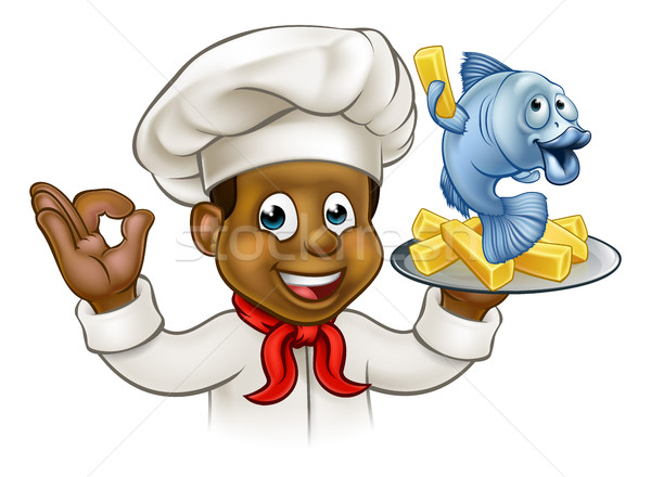 Cartoon poissons puces chef noir personnage Photo stock © Krisdog