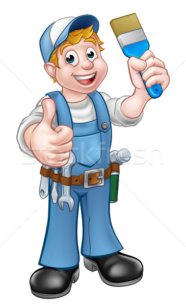 Handyman Painter Decorator Holding Paintbrush Stock photo © Krisdog