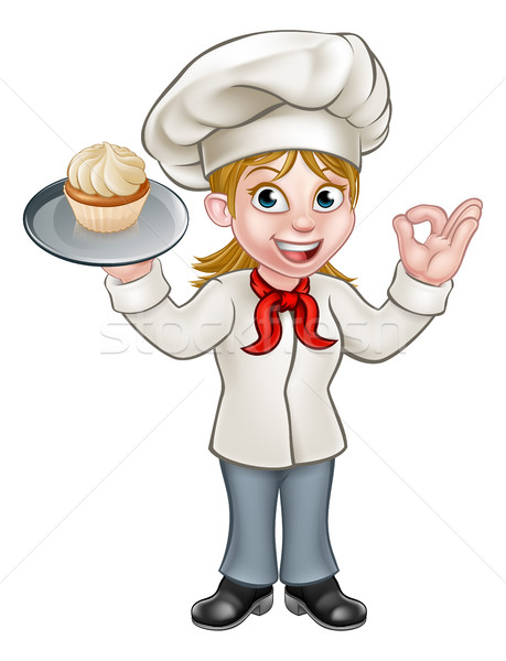 Cartoon Female Woman Baker or Pastry Chef Stock photo © Krisdog