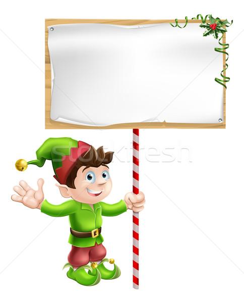 Foto stock: Natal · elfo · assinar · ajudante · grande