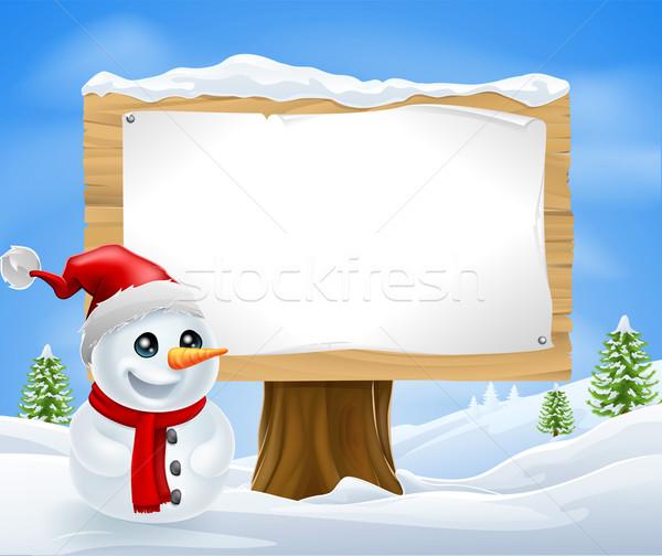 ストックフォト: かわいい · クリスマス · 雪だるま · にログイン · 冬 · 男