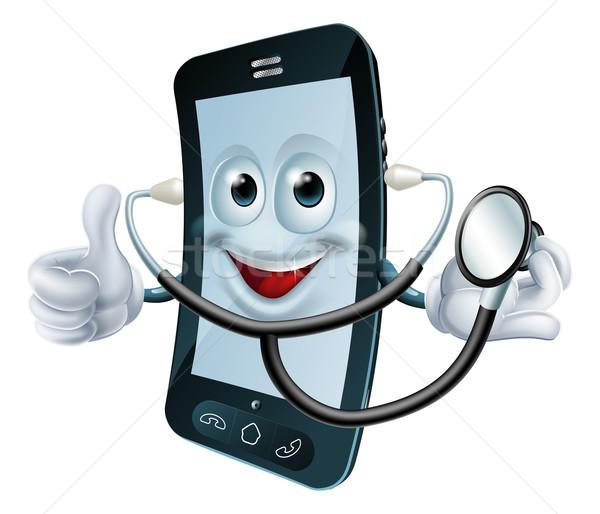 Rajz telefon karakter tart sztetoszkóp illusztráció Stock fotó © Krisdog