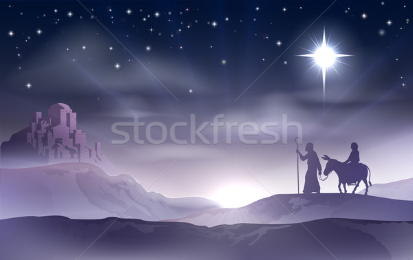 Mary and Joseph Nativity Christmas Illustration Stock photo © Krisdog
