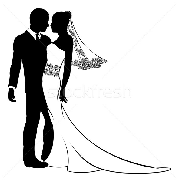 Stock photo: Bride and groom silhouette