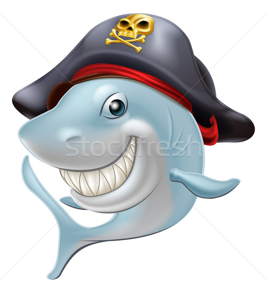 Pirate shark cartoon Stock photo © Krisdog