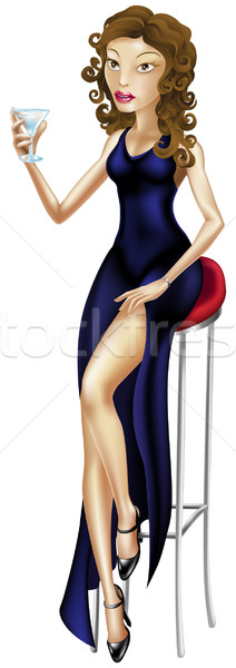 Beautiful woman seated on bar stool with cocktail Stock photo © Krisdog