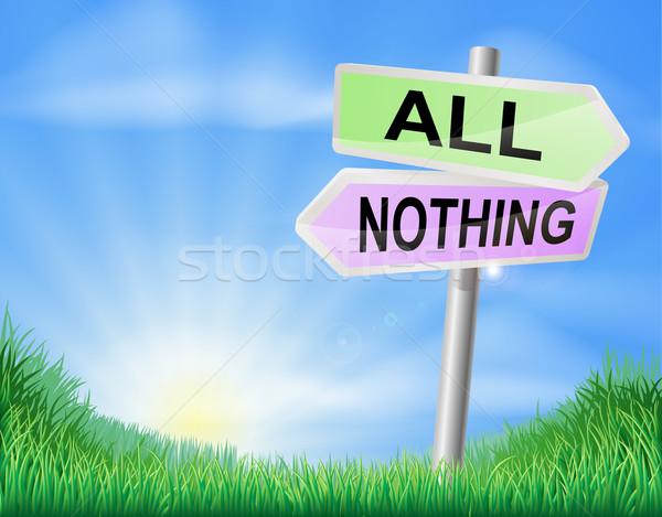 Alle niets beslissing teken keuze richting Stockfoto © Krisdog