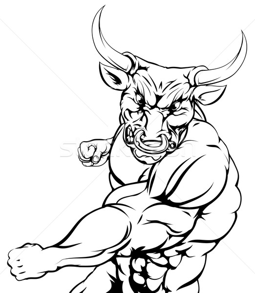 Fighting bull character sports mascot Stock photo © Krisdog