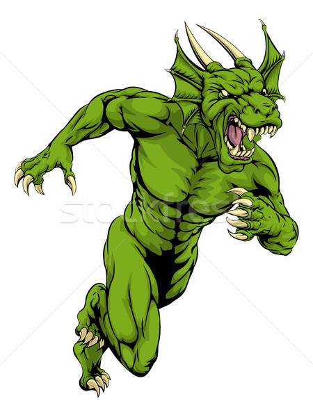 Dragon mascot sprinting Stock photo © Krisdog