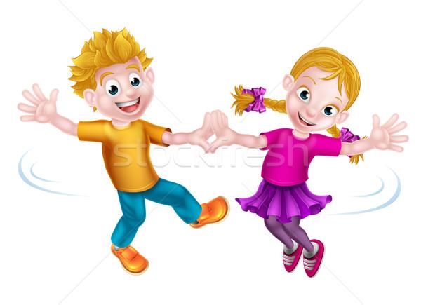 Desenho animado crianças dança dois menino menina Foto stock © Krisdog