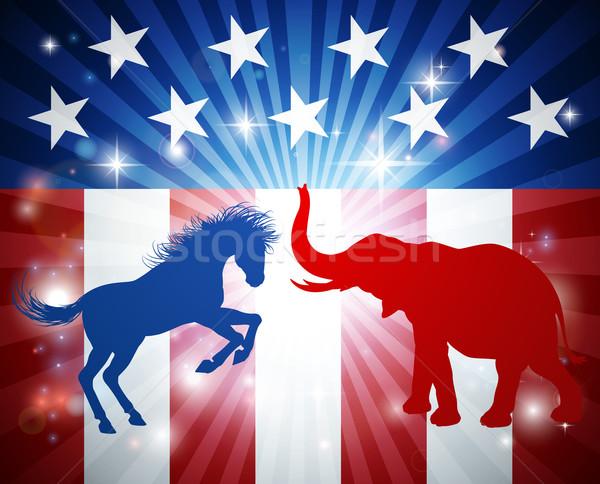 élection âne éléphant silhouette autre Photo stock © Krisdog