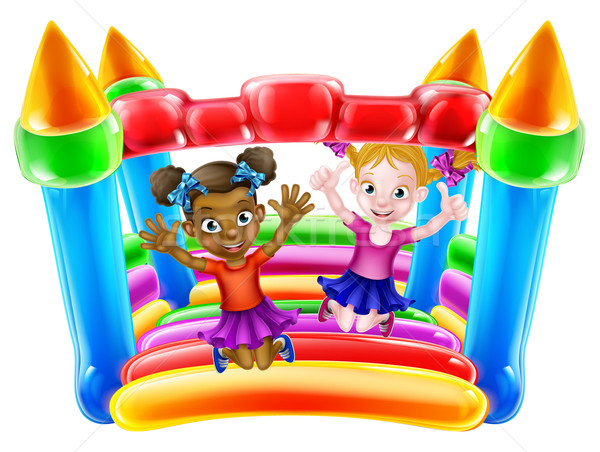 Kids on Bouncy Castle Stock photo © Krisdog