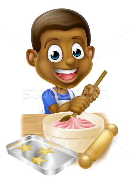 Cartoon Black Boy Baking Cakes Stock photo © Krisdog
