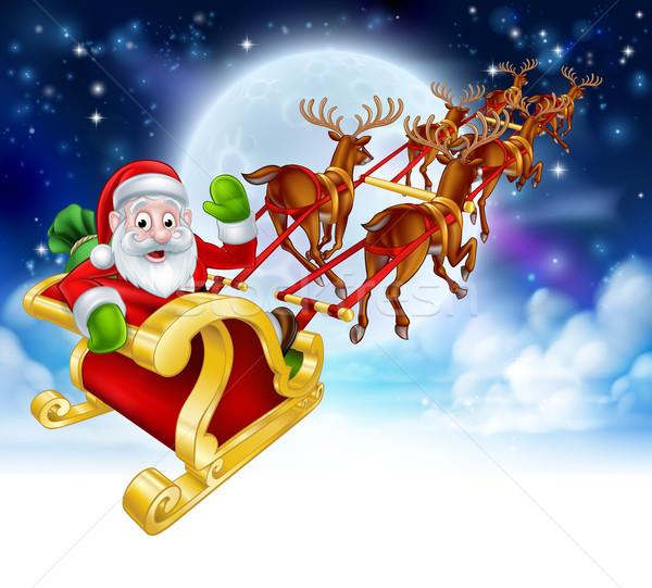 Święty mikołaj renifer sanie cartoon christmas scena Zdjęcia stock © Krisdog