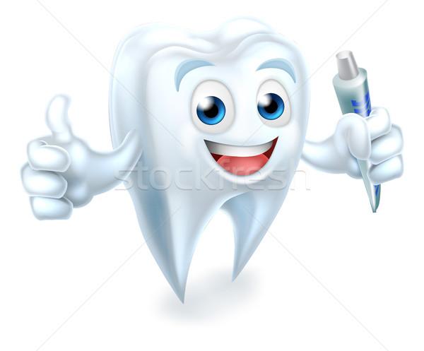 Dente dental mascotte dentifricio cartoon Foto d'archivio © Krisdog