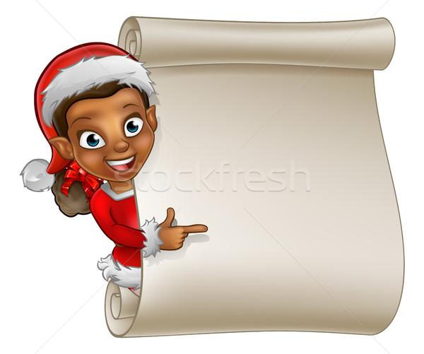 Christmas przejdź elf cartoon cute Święty mikołaj Zdjęcia stock © Krisdog