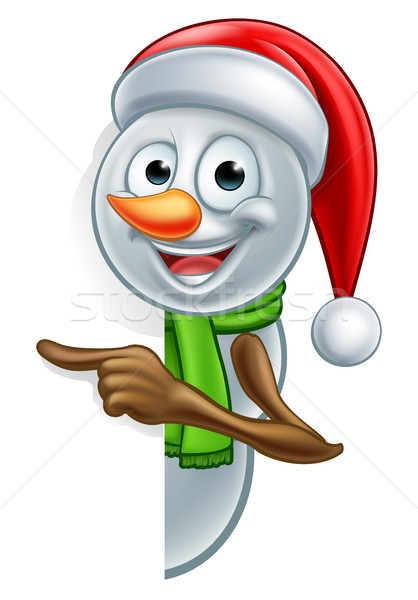 Stock photo: Pointing Cartoon Christmas Santa Hat Snowman