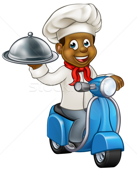 Cartoon Black Delivery Moped Scooter Chef Stock photo © Krisdog