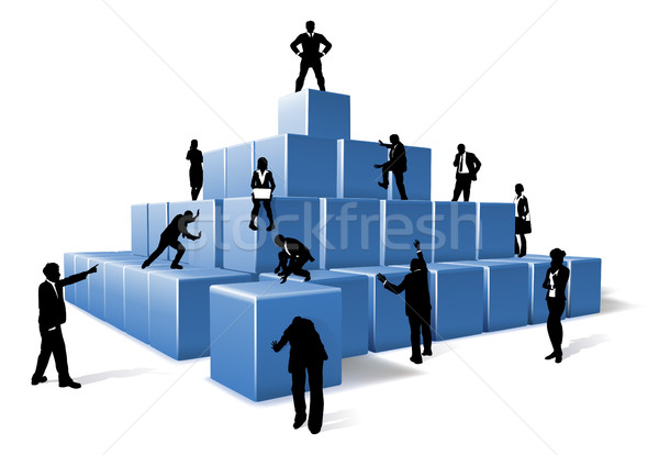 Business Team People Silhouettes Building Blocks Stock photo © Krisdog