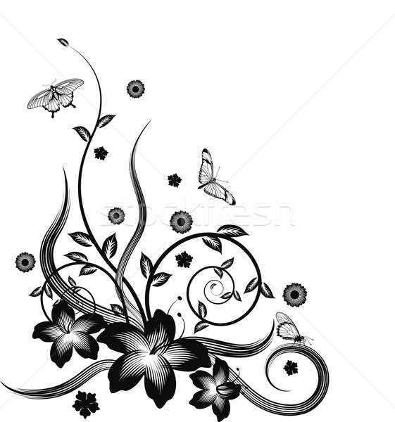 Gorgeous black corner floral design Stock photo © Krisdog