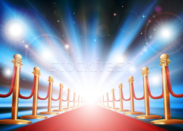 Grand entrance with red carpet and flash lights Stock photo © Krisdog