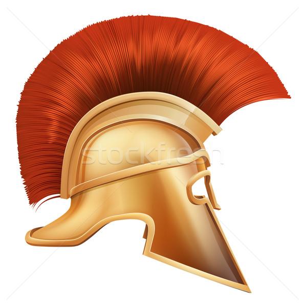 Espartano capacete ilustração lado troiano usado Foto stock © Krisdog