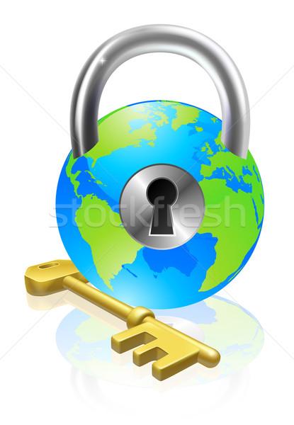 Lock and Key Globe Stock photo © Krisdog