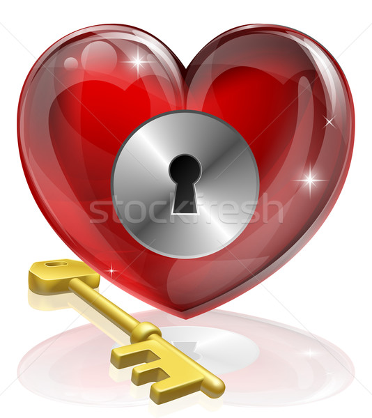 Coração trancar chave ilustração símbolo Foto stock © Krisdog