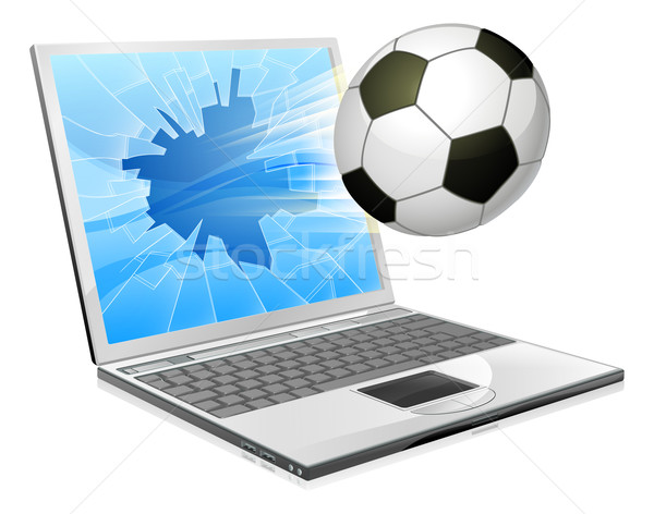 サッカー サッカー ノートパソコン 実例 サッカーボール 飛行 ストックフォト © Krisdog