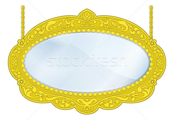 Butik tükör illusztráció arany keret copy space Stock fotó © Krisdog