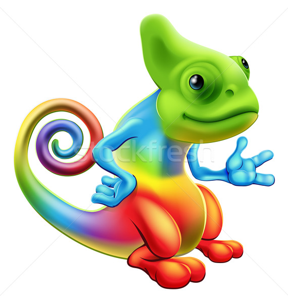 Cartoon regenboog kameleon illustratie mascotte permanente Stockfoto © Krisdog