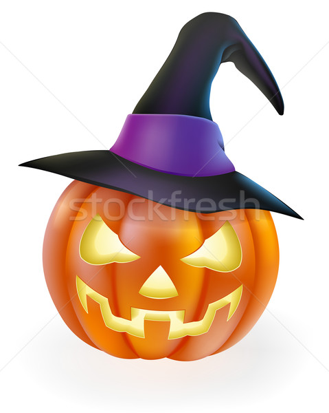 Halloween Pumpkin in Witch Hat Stock photo © Krisdog