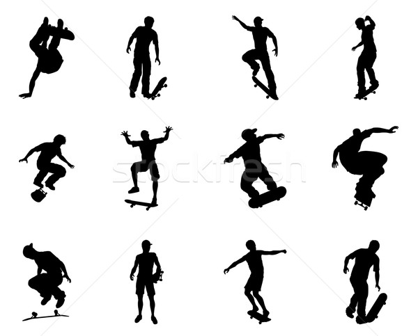 Stock photo: Skateboarder silhouette outlines