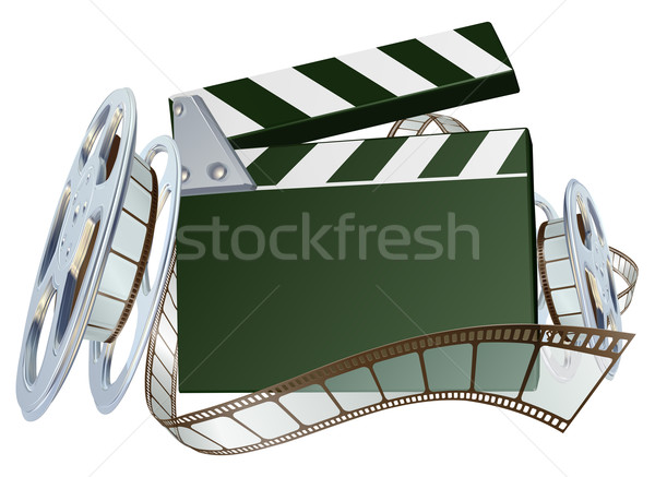 Film reel and clapper board background Stock photo © Krisdog