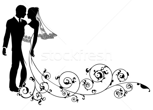 Bride and groom floral design Stock photo © Krisdog