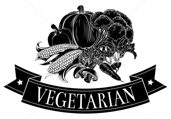 Comida vegetariana ícone legumes frescos bandeira leitura vegetariano Foto stock © Krisdog