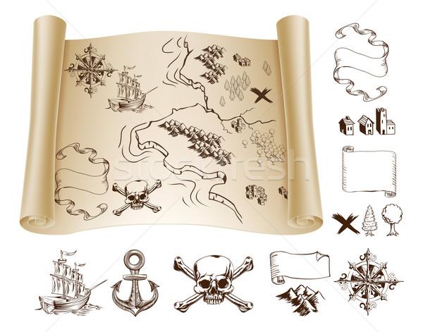 Mappa del tesoro esempio mappa design elementi Foto d'archivio © Krisdog