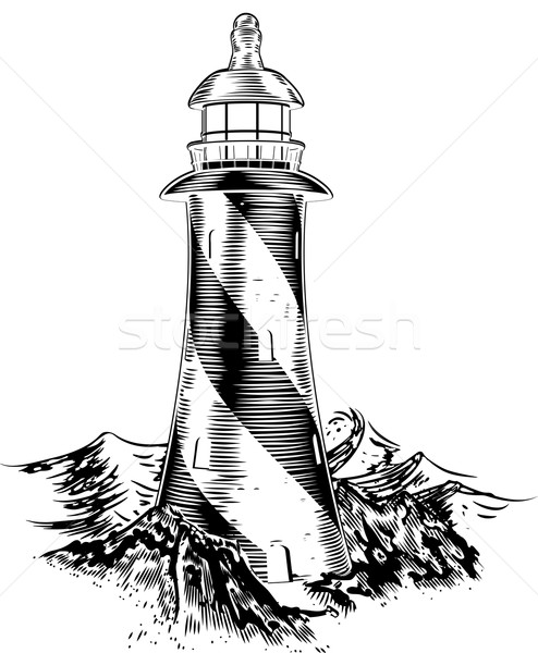 Woodblock style lighthouse Stock photo © Krisdog
